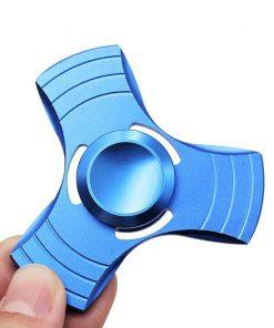 Fidget Spinner Jucarie Antistres De Metal Cu Orificii Albastru 1