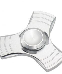 Fidget Spinner Jucarie Antistres De Metal Cu Orificii Argintiu 2
