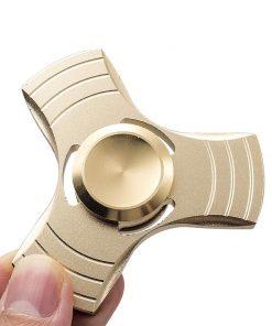 Fidget Spinner Jucarie Antistres De Metal Cu Orificii Auriu 2