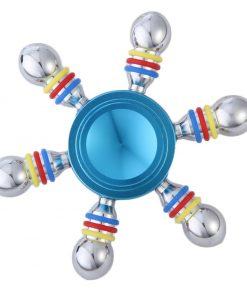 Jucarie Interactiva Antistres Fidget Spinner, Demontabila, Metalica, 6 Parti, Albastru
