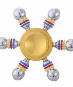 Jucarie Interactiva Antistres Fidget Spinner, Demontabila, Metalica, 6 Parti, Auriu