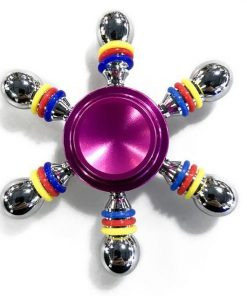 Jucarie Interactiva Antistres Fidget Spinner, Demontabila, Metalica, 6 Parti, Mov