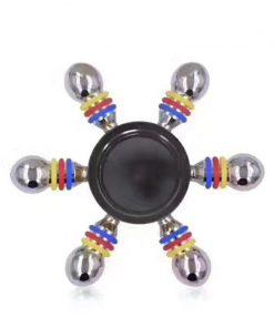Jucarie Interactiva Antistres Fidget Spinner, Demontabila, Metalica, 6 Parti, Negru