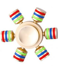 Jucarie Interactiva Antistres Fidget Spinner, Demontabila, Metalica, Aurie