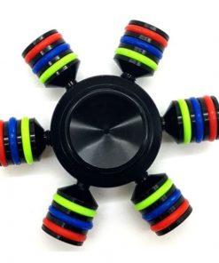 Jucarie Interactiva Antistres Fidget Spinner, Demontabila, Metalica, Negru