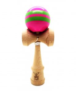 Kendama Ball Originala Stripe Verde Lemn Fag Roz