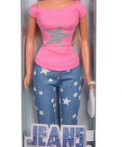 Papusa steffi jeans fashion cu bluza roz