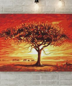 Baobab in the sunset - Pictură pe numere