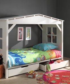 Pat din lemn de pin si MDF cu 2 sertare, pentru copii tip casuta Pino House Alb, 200 x 90 cm
