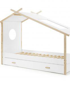 Pat din lemn de pin si MDF cu sertar, pentru copii tip casuta Cocoon Alb / Natural, 200 x 90 cm