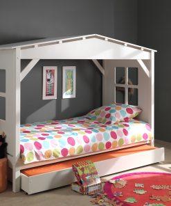 Pat din lemn de pin si MDF cu sertar, pentru copii tip casuta Pino House Alb, 200 x 90 cm