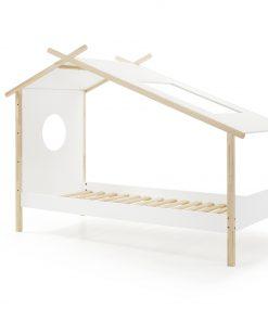 Pat din lemn de pin si MDF pentru copii tip casuta Cocoon Alb / Natural, 200 x 90 cm