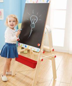 Tabla magnetica cu 2 suprafete, de masa din lemn pentru scris si sevalet pictura.