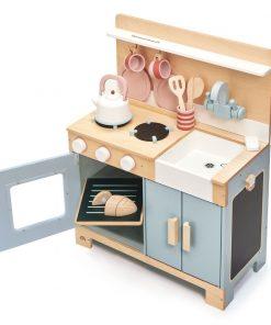 Set de joaca, Bucatarie din lemn, Mini Chef Home Kitchen, Tender Leaf Toys, 16 piese