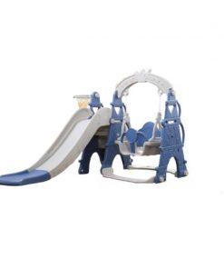 Set tobogan Mykids, 154 x 180 x 120 cm, HDPE, maxim 20 kg, cos de baschet inclus, 2-4 ani, model turn, Gri/Albastru