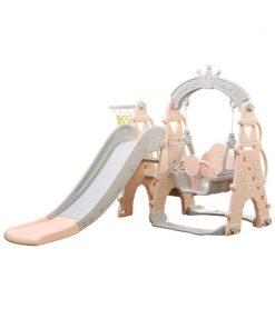 Set tobogan Mykids, 154 x 180 x 120 cm, HDPE, maxim 20 kg, cos de baschet inclus, 2-4 ani, model turn, Gri/Roz