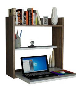 Birou cu raft de perete Laptop - Woody Fashion, Maro 727527