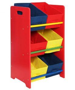 Etajera cu 6 cosuri pentru copii Erand - Premier, Rosu,Multicolor 669200