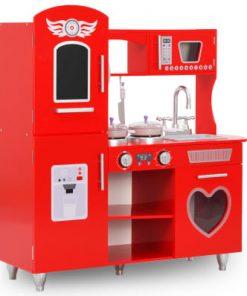 vidaXL Bucătărie de jucărie pentru copii, roșu, 84 x 31 x 89 cm, MDF