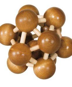 Joc logic iq din lemn de bambus atom 3d