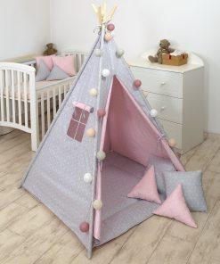 Jolie cort tipi 100x100 cm geometric pink
