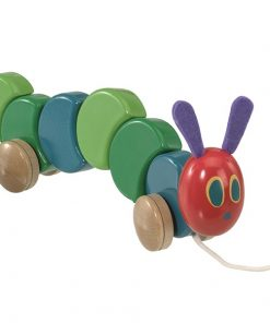 Jucarie din lemn cu roti the very hungry caterpillar 26 cm