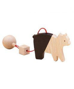 Jucarie din lemn urs, natur-negru, pentru carusel / centru de activitati, Mobbli