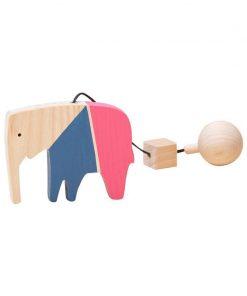 Jucarie din lemn elefant, colorat, pentru carusel / centru de activitati, Mobbli