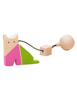 Jucarie din lemn pisica, colorat, pentru carusel / centru de activitati, Mobbli