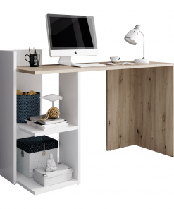Masă PC, stejar artisan/alb mat, ANDREO
