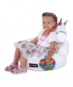 Fotoliu tip sac unicorn, alb/roz/amestec de culori, BUFEL