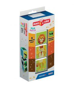 Joc de constructie magnetic Magic Cube Blister, Animale din savana