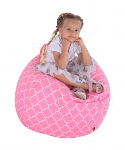 Fotoliu tip sac, roz/alb cu model, GOMBY