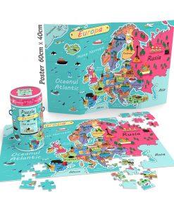 Puzzle Cunoastere Noriel - Harta Europei, 150 piese