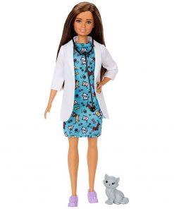 Papusa Barbie by Mattel Careers Medic veterinar cu figurina pisica