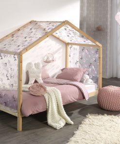 Pat din lemn de pin cu perdeluta decorativa, pentru copii tip casuta Dallas House Natural / Roz, 200 x 90 cm