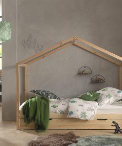 Pat din lemn de pin cu sertar, pentru copii tip casuta Dallas House Natural, 200 x 90 cm