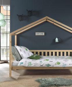 Pat din lemn de pin pentru copii tip casuta Dallas Capitan Natural, 200 x 90 cm