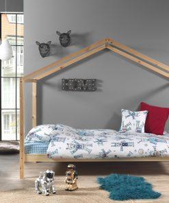 Pat din lemn de pin pentru copii tip casuta Dallas House Natural, 200 x 90 cm