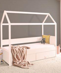 Pat din lemn de pin si pal cu 2 sertare, pentru copii tip casuta Ofelia, 200 x 90 cm