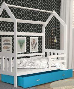 Patut tineret MyKids Domek 2 Alb-Albastru -190x80