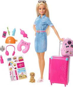 Set Barbie by Mattel Travel papusa cu accesorii FWV25