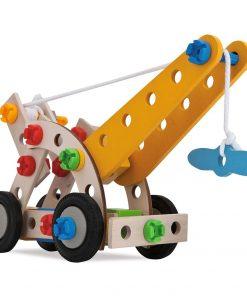 Set constructie din lemn Eichhorn Mobile Crane 70 piese