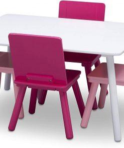 Set masuta si 4 scaunele White/Pink
