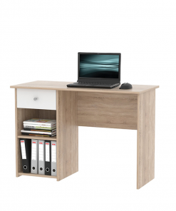 Masă pentru calculator, stejar sonoma / alb, KARLIS