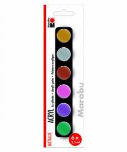 Set culori acrilice cu aspect metalic Basic Marabu, 6 x 3.5 ml