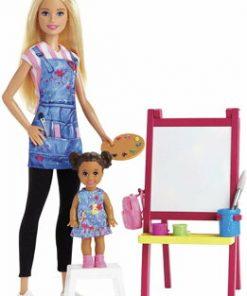 Set de joaca, Barbie - Mobilier cu papusa profesoara de pictura