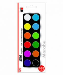 Set culori acrilice Basic Marabu, 12 x 3.5 ml