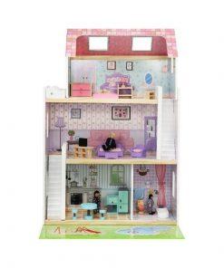 Casa papusi din lemn cu 3 etaje si 24 accesorii incluse Iso Trade MY17461