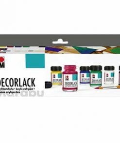 Set culori acrilice lucioase Decorlack Marabu, 6 x 15 ml